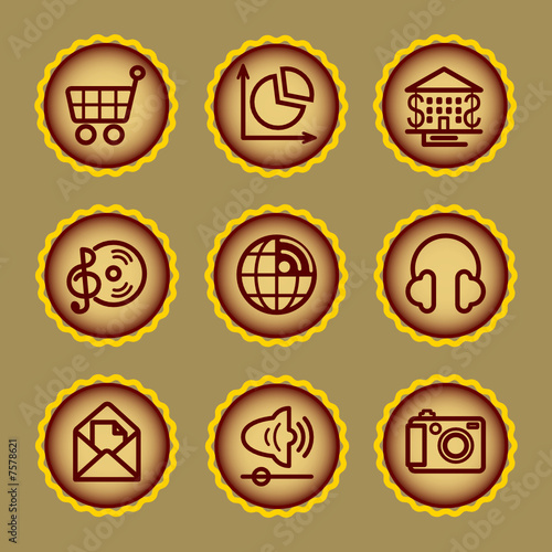Brown contour web icons, set 5