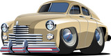 Vector cartoon retro car `Pobeda` Gaz-20
