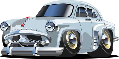 Vector cartoon retro car `Moskvich`