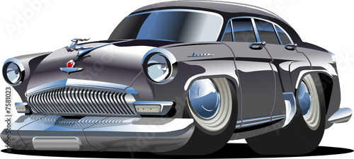Vector cartoon retro car `Volga` Gaz-21