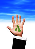 Map of Britain in businessman hand poster