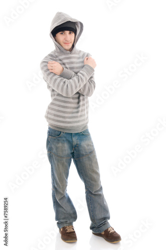The young hip-hop man isolated on a white