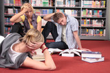 students reviewing books in the library - long working hours poster