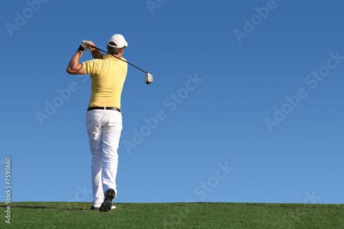 Fotobehang Golf Golf - Golfspieler beim Abschlag