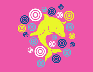 Yellow dolphin rounded by targets