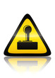 Symbole de danger Wi-Fi (reflet métal)