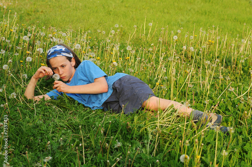 girl lying in field of dandelions