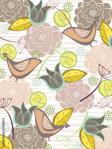 whimsical nature blooms and birds (vector)