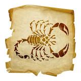 Scorpio zodiac icon, isolated on white background. poster