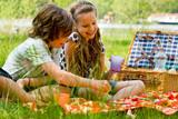 Fototapety Kids having fun while picnicking
