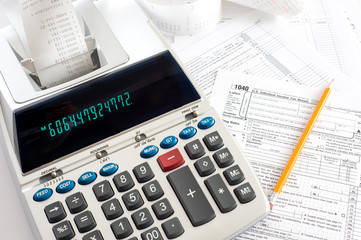 Adding Machine with tax forms