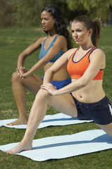 Two young women exercising in park