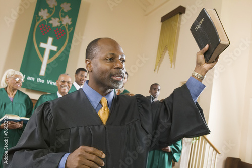 Preacher Preaching the Gospel in church