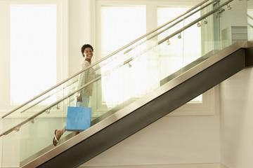 Woman Walking up Stairway