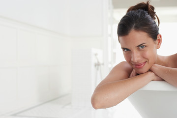 Woman Relaxing in Bathtub