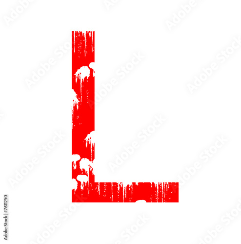 Illustration: Letter L in grunge style on a white background.