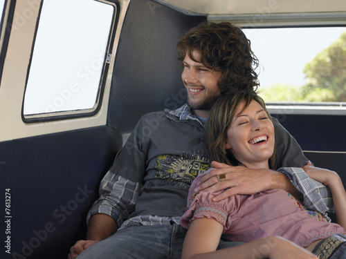 Couple Cuddling in Van