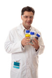 Laboratory chemist holding bottles of chemicals poster
