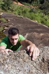 Man Rock-Climbing
