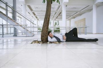 Businessman Sleeping under Tree