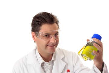 Scientist with lab bottles