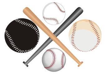 Bolas e tacos de baseball