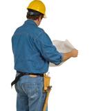 Construction Man reviewing building plans poster