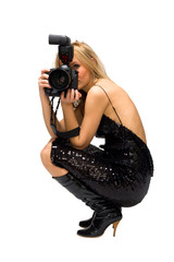 Portrait of a beautiful young blond female with camera