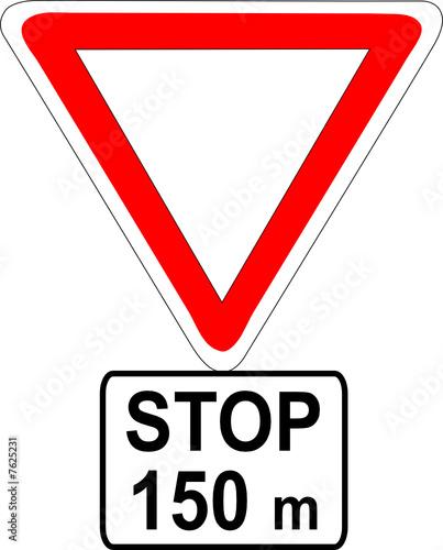 A0143 panneau danger stop a 150 m fichier vectoriel libre de dr - Prix d un panneau stop ...