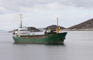 Small Norwegian cargo boat.