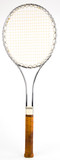 Steel Vintage Tennis Racquet with Leather Grip poster