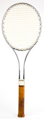 Steel Vintage Tennis Racquet with Leather Grip