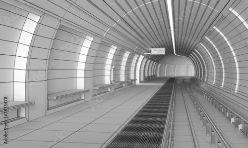 Underground rail - 3D construction wire