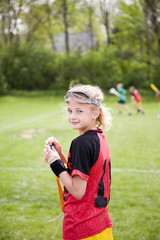 Lacrosse player on the sideline