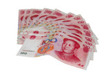 Chinese money isolated on white - 100 yuan notes poster
