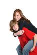 Girl riding piggyback
