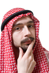 Thoughtful arabian young man