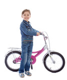 Young girl isolated on white stay with her bike poster
