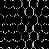 Chemical heterocyclic structure. Seamlessly vector wallpaper poster