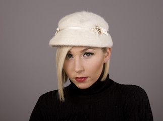 Blonde in Fur Hat with Nice Eyes