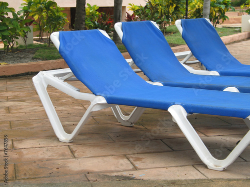 blue outdoor chairs