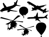Airlines,helicopters and balloons poster