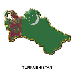 Turkmenistan metal pin badge