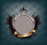 ornate medallion with ribbon  poster