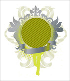 ornamental medallion with ribbon- grey and green poster