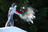 Boy Throwing a Snowball poster