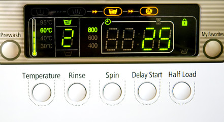 electronic panel on washing machine