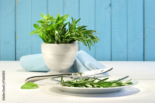 Fresh herbs on the table
