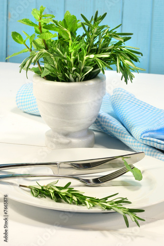 Fresh green herbs on a table