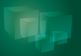 Abstract cubes green